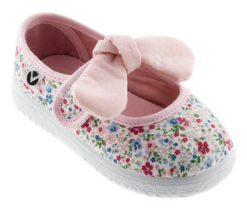 Victoria Girl's Floral Bow Mary Jane, Rosa