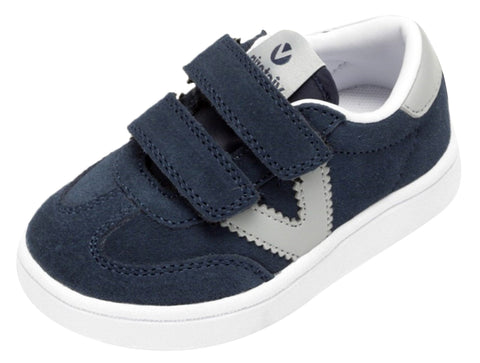 Victoria Millas Suede Sneaker Navy Hook and Loop for Boy's and Girl's