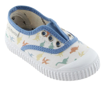 Victoria Boy's and Girl's Dinosaur Slip-On Canvas Sneakers, Azul