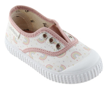Victoria Girl's Rainbow Slip-On Canvas Sneakers, Nude