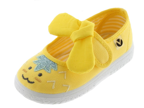 Victoria Girl's and Boy's Mary Jane Slip-On Canvas Sneakers, Amarillo