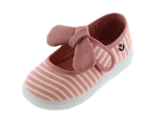 Victoria Girl's Bow Mary Jane, Coral Striped