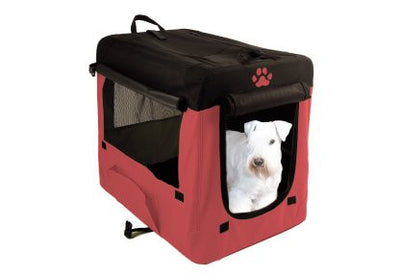 Cusca de transport din material textil rosu/negru - PetGuru Pet Shop by Vetomed