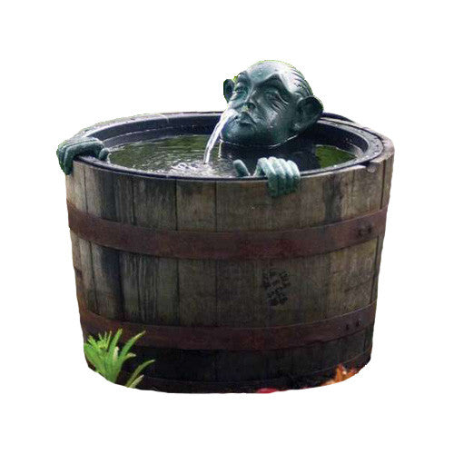 FOUNTAIN MAN IN BARREL W/PUMP