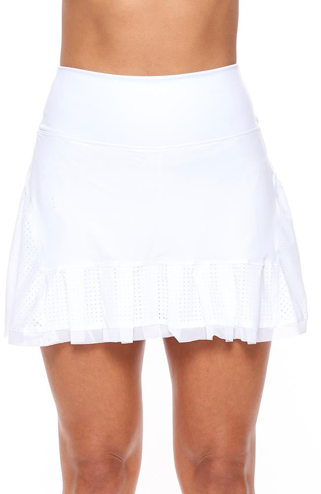 A line white tennis outfits skirt front pose