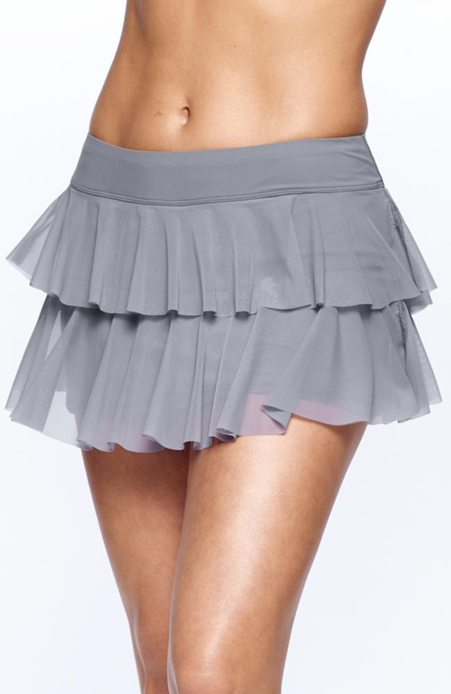 Features of Tennis Skirt wearing tennis player Grey color Side view