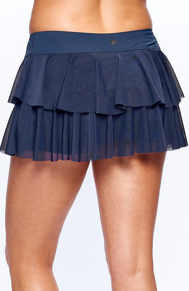 Layer Navy skirt wearing Front view of tennis casual view