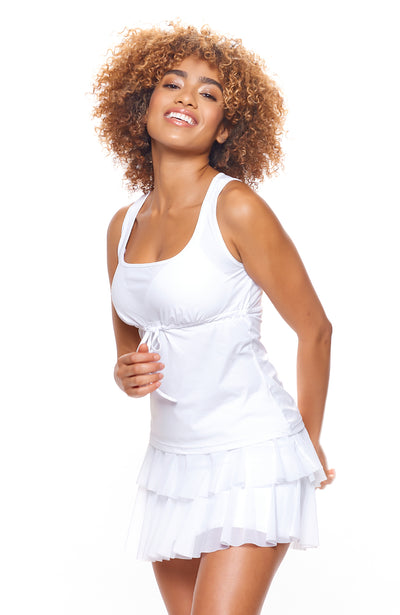 White layer Tennis Skirt with White White tennis Top casual wear tennis clothes for women