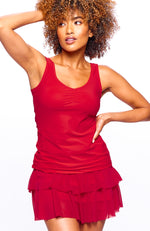Red Rosso color front view tennis outfits women