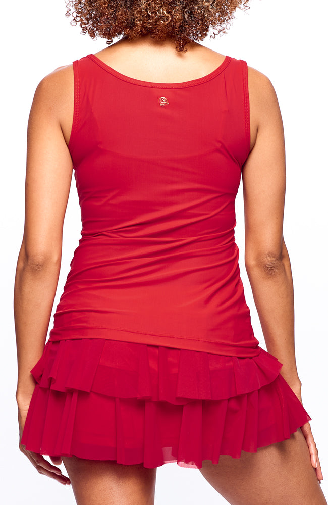 back view of Skirt Casual Tennis Clothes for Women outfit red color