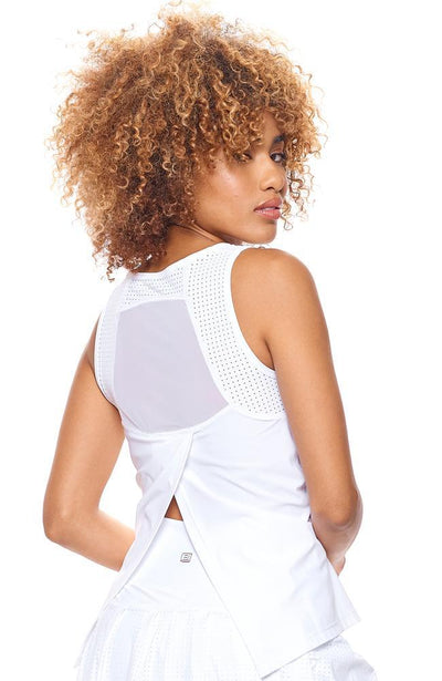 back view of white tank Top for women