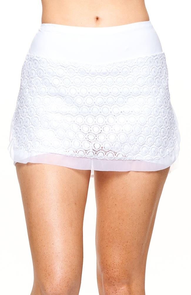 Front view of White Color Skirt with White color panties casual tennis clothing