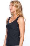 Side view of Black Tank top side view wearing women tennis player