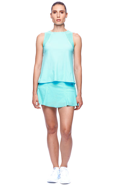 Front view of Women tennis outfits branded Clothing Women wearing Aqua color Top and Aqua Color Skirt