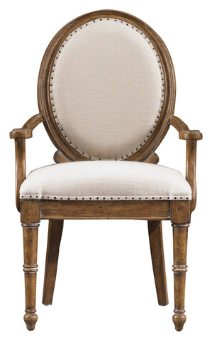 European Farmhouse Oval Back Upholstered Arm Chair
