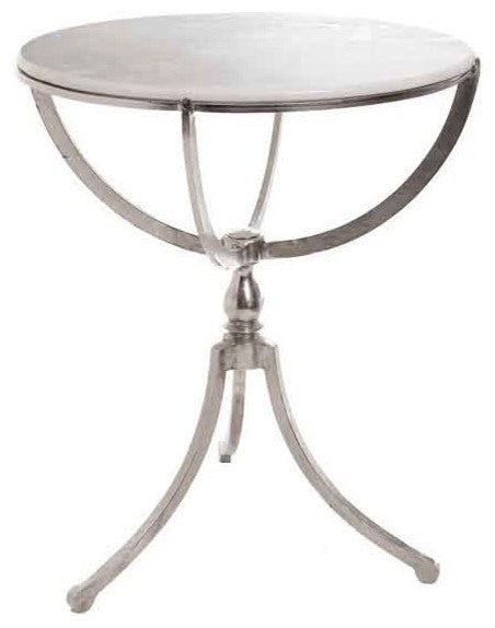 Art Deco Nickel Round Table with Marble Top