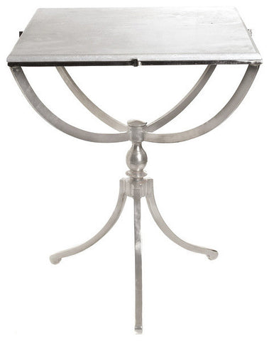 Art Deco Nickel Square Table with Marble Top