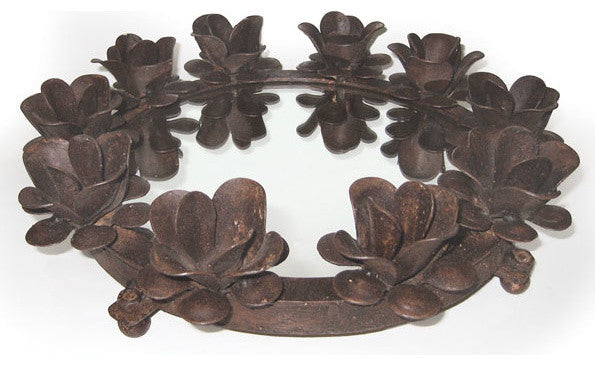 Round Iron Serving Tray with Candleholders