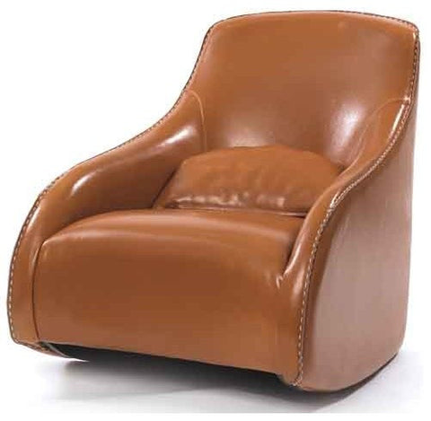 Brown Contemporary Style Leather Chair