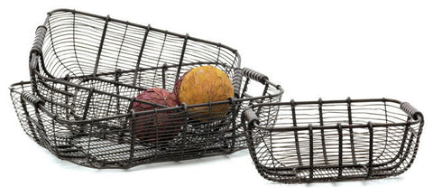 Set of Three Tabletop Wire Baskets