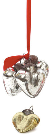 Go Home Set Of Nine Antique Silver Smooth Heart Ornament