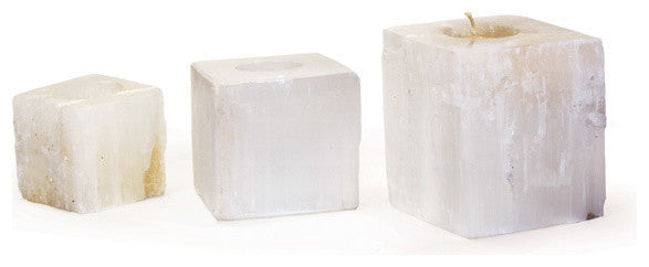 Set of Three Square Rock Crystal Votives
