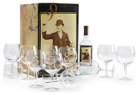 Set of Twelve Numerology Wine Glasses