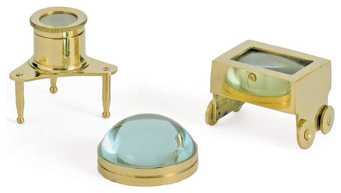 Brass Gemologist Magnifiers, Set of 3