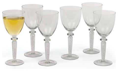 Set of Six Coil White Wine Glasses