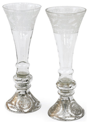 Pair of Large Mercury & Glass Flutes