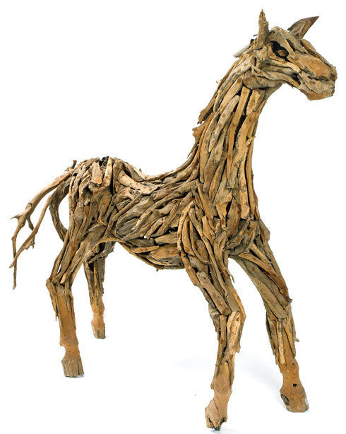 Teak Wood Sculpted Horse