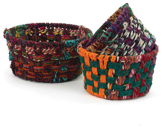 Round Woven Fabric Baskets