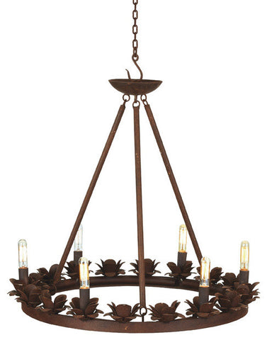 Go Home Rustic Rose Iron Chandelier