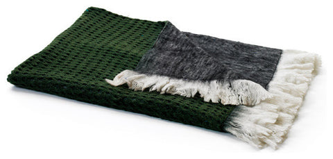 Gray Reverse Mohair Throw