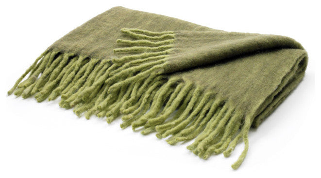 Two Tone Green Mohair Throw