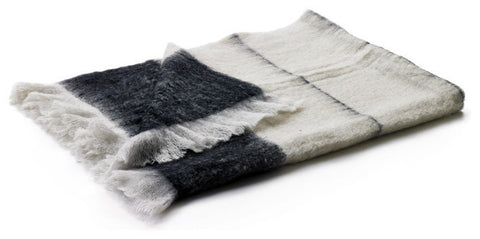 Black And Pearl Mohair Throw