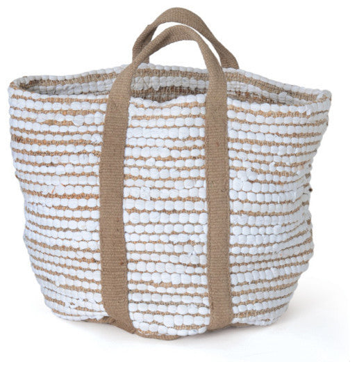 White Hemp And Cotton Basket