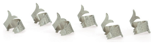 Set of Six Sunfish Napkin Rings