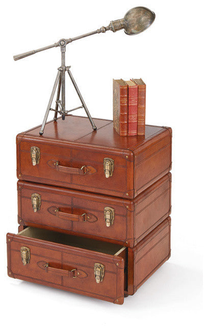 Calvert Three Drawer Leather Chest