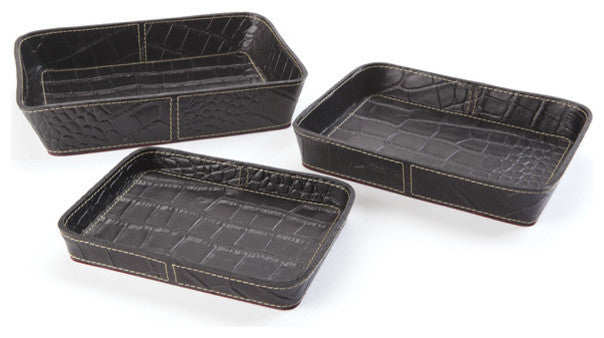 Set of Three Belford Leather Trays