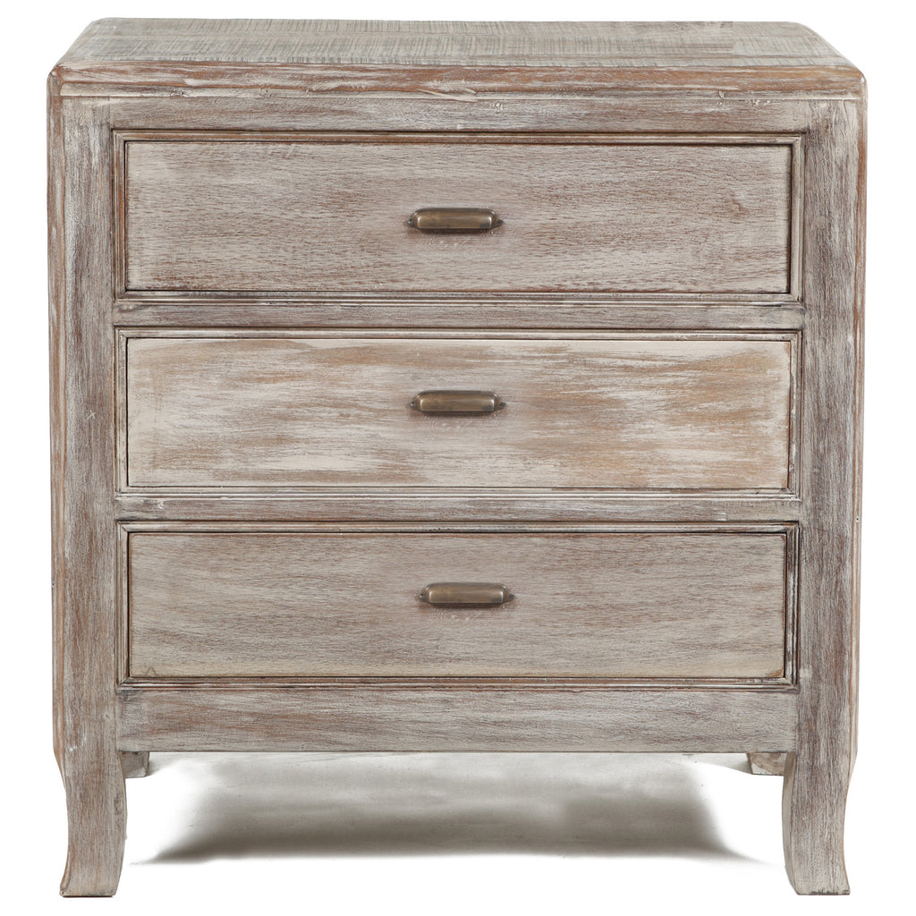 3 Drawer Distressed Nightstand in Salvage Finish