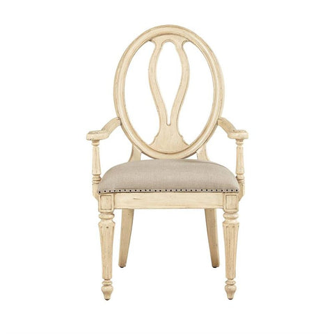 European Cottage-Arm Chair, Vintage White