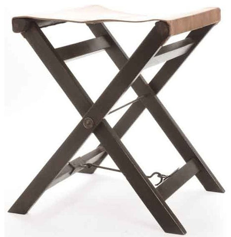 Folding Leather and Wood Camp Stool