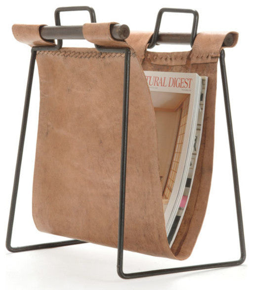 Iron and Leather Magazine Rack