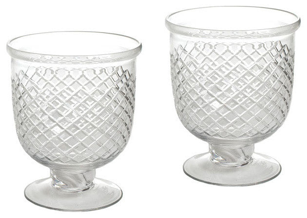 Pair of Small Antique Diamond Cut Etched Hurricanes