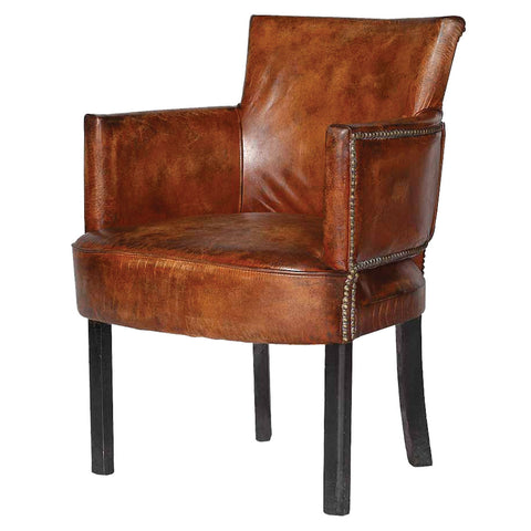 Cigar Leather Upholstered Arm Chair