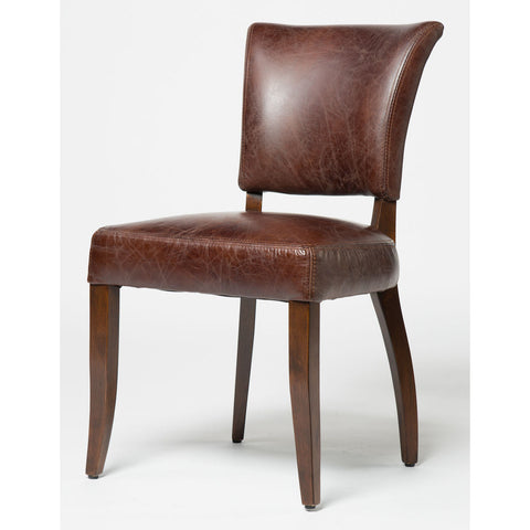 Cigar Leather Upholstered Side Dining Chair