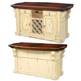 Exceptional Country French Kitchen Island With Corbels