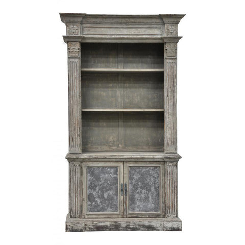Distressed Carved Column Bookcase