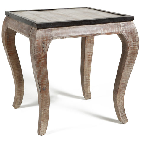Distressed Solid Wood End Table in Salvage Finish